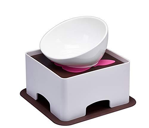 JOHOBA Bulldog Feeder Tilted Single Food Bowls for French...
