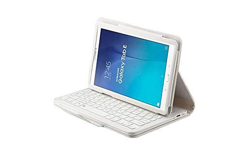 Estuche de Cuero con Tapa magnética Desmontable con Teclado Bluetooth para Galaxy Tab E 9.6 T560 T561 Fundas-para T560 Blanco