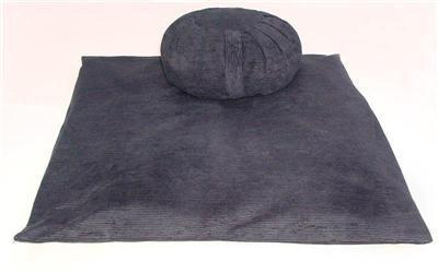 Perfect Pillow Ltd Ensemble coussin Zafu et tapis Zabuton de méditation/yoga Velours côtelé Noir