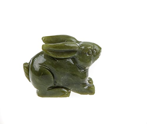 Yuchengstone Figurines du zodiaque chinois, en marbre vert de qualité supérieure, fabriquées à la main et chacune est unique - Motif : lapin.