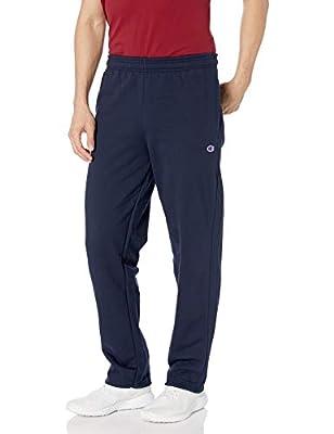 Champion Men's Powerblend Open Bottom Fleece Pant, Navy, L
