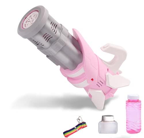 SONG Fabricante de Burbujas de Gran Cantidad de 5 Agujeros, Música Flash Gatling Bubble Guns Máquina Automática de Burbujas para Niños, Juguete de Pistola de Burbujas Eléctrica,Pink