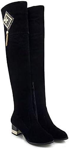 HRCxue schuhe de la Corte Stiefel de damen más Stiefel de Terciopelo borlas Tubo Largo la Moda es Delgada y Gruesa, schwarz, 37
