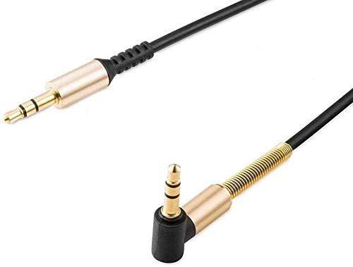 Deet 1m mit weißem Stoff umwobenes Kabel 24K vergoldeter Audiobuchse. KFZ/AUX-Anschluss für Lautsprecher, MP3-Player, iPod, Handy