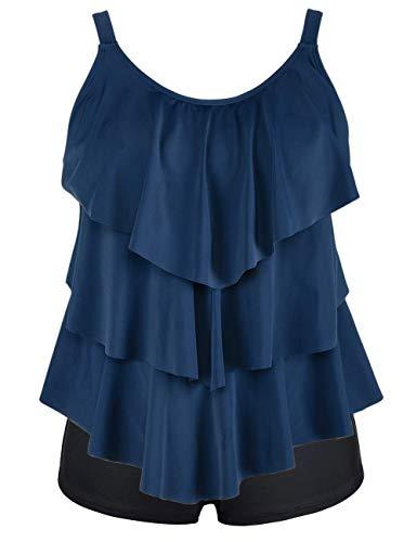 Cadocado Women's Scoop Neck Swimwear Tankini Set Ruffle Swim Tops with Boyshort Long Troso Bathing Suit,Gray Blue,US 10