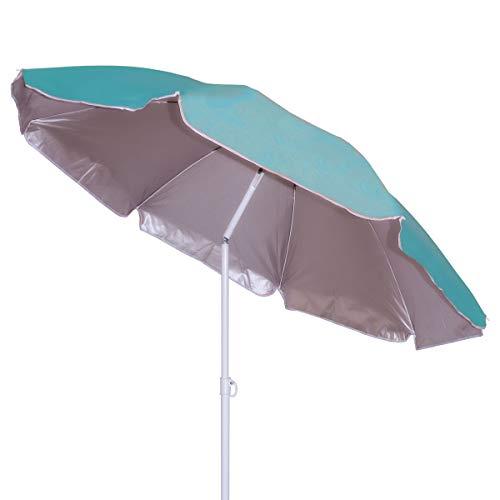 Besch Sombrilla para Playa, Jardín o Piscina, incluiye Soporte de Tornillo y una Percha - Acero e Inclinable con Protección Solar UV50+ (Ø 180cm, Azul)