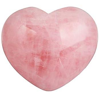 Rockcloud Healing Crystal Natural Rose Quartz Heart Love Carved Palm Worry Stone Chakra Reiki Balancing