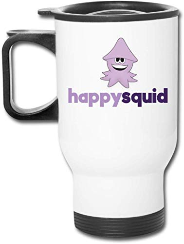Bestqe Tazza da Viaggio con Manico, Happy Squid Travel Mug Vacuum-Insulated Stainless Steel Easy-Clean Lid
