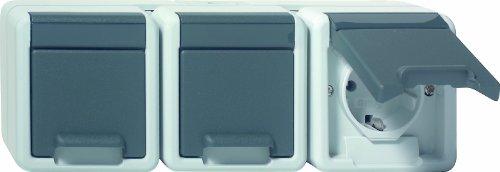 Gira 078930 SCHUKO stopcontact 3-voudig waterdichte opbouw, grijs