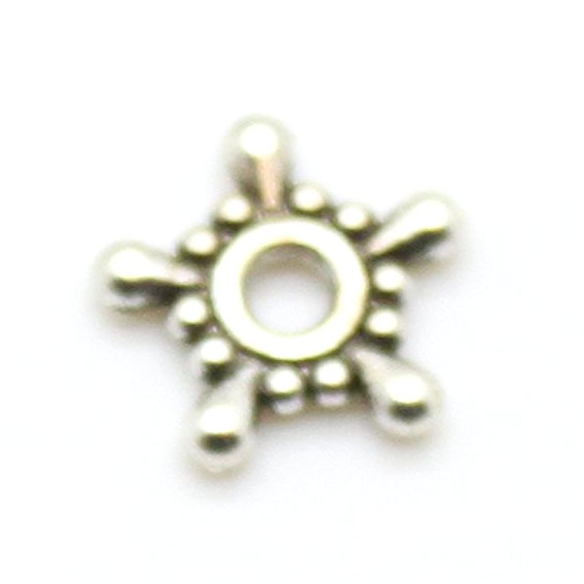 40 9mm Star Snowflake Spacer Beads (Silver)