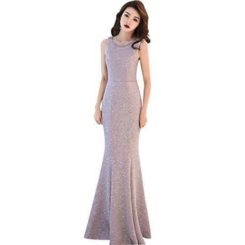 Vestido de Noche Sección Larga Plata Gris Cola de Pescado Noble Elegante Año de Boda Vestido de Dama de Honor Vestido de Falda Ailin Home (Color : Gris-Plata, Tamaño : XXL)