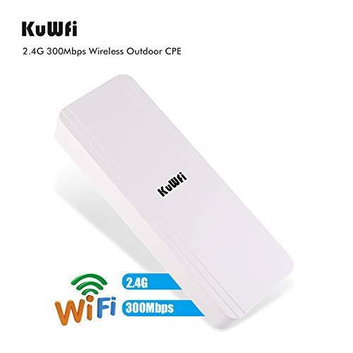 KuWFi Extensor de Wi-Fi para Exteriores,Repetidor de Red WiFi Extensor Amplificador de Cobertura Paquete de 1 5.8Ghz 300Mbps de Largo Alcance WiFi Bridge CPE inalámbrico para Exteriores con 48V PoE