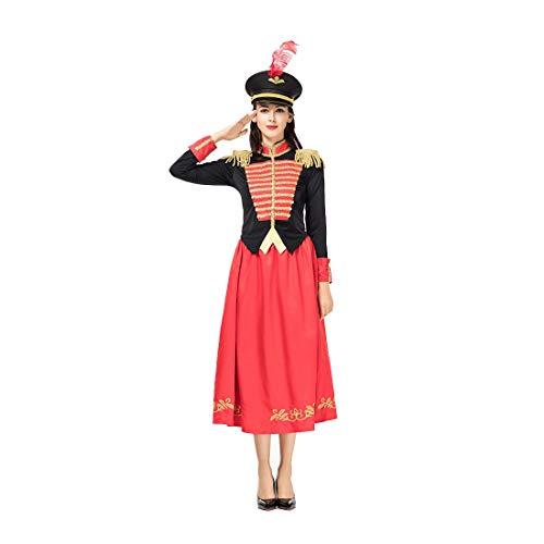 HOOLAZA Frauen Rot Military Nussknacker Navy Kostüm Cosplay Kleid 3 Stücke Bühnenkostüm