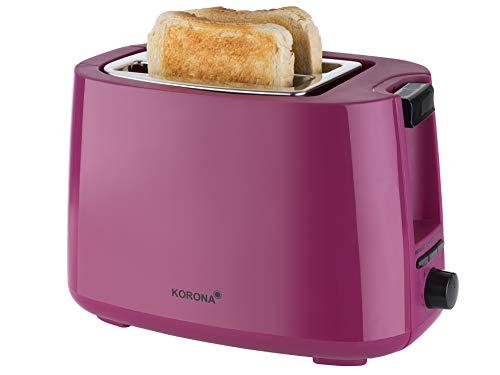 Korona 21134 Toaster | Beere | 750 Watt | Brötchenaufsatz | 2 Brotscheiben | Krümelschublade