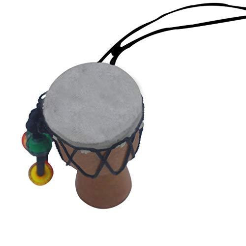 Frauen Männer Holztrommel Ethnic hängende Halskette aus Holz Anhängern Trommel Mini Tambourine Kinder Halskette Schmuck, Schwarz