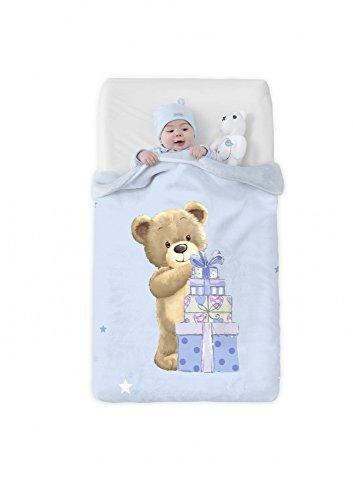Manterol Baby Kinder Vip Kuscheldecke Bär mit Geschenk Größe 75x100 cm Farbe Hellblau