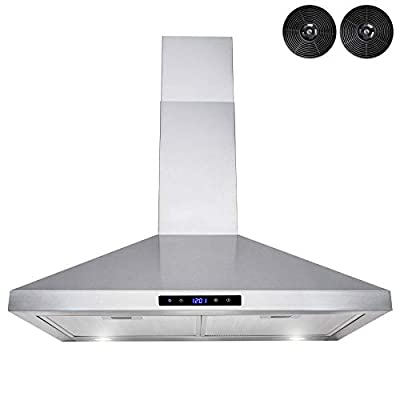 "AKDY Wall Mount Range Hood –30"" Stainless-Steel Hood Fan for Kitchen – 3-Speed Professional Quiet Motor – Premium Touch Control Panel – Modern Design – Carbon Filters & LED Lamp"