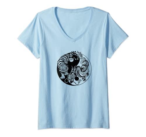 Donna Yin Yang Drago Tigre Maglietta con Collo a V