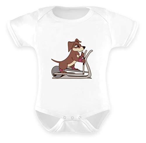 Galeriemode Strampler Hund elliptischer Crosstrainer - Baby Body -0-6 Monate-Weiß