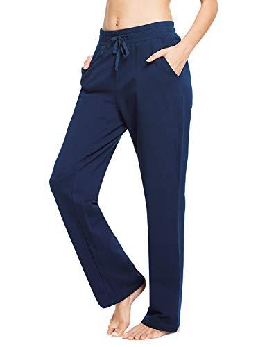 BALEAF Pantaloni Lunghi da Yoga, da Donna, con Tasche Laterali Dunkle Blau S