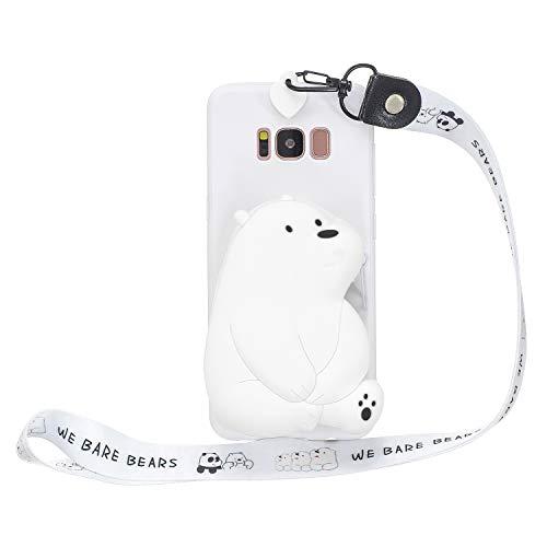 Miagon Silikon Hülle für Samsung Galaxy S8 Plus,3D Süß Brieftasche Lager Tasche Design mit Halskette Kordel Schnur Handykette Necklace Band,Weiß Bär