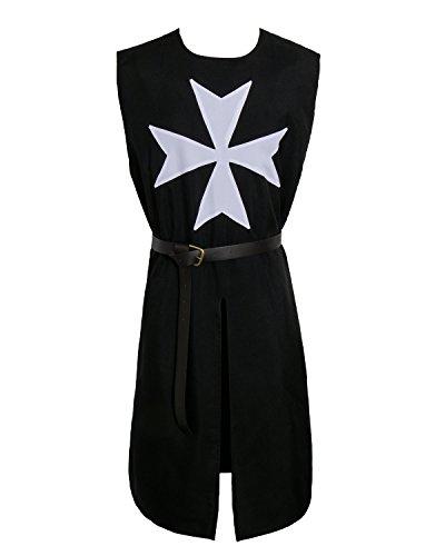 Nofonda Erwachsene mittelalterliche Kreuzritter Tunika Cosplay Kostüm Standardgröße mit Gürtel (Schwarz)