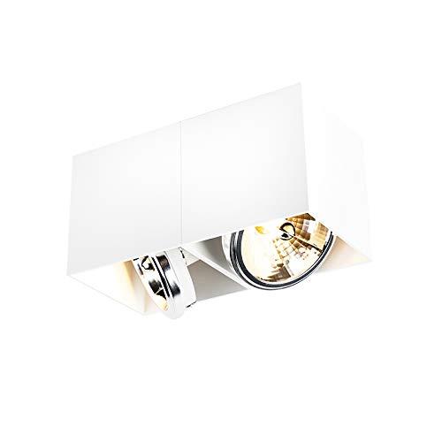 QAZQA - Design Spot   Spotlight   Deckenspot   Deckenstrahler   Strahler   Lampe   Leuchte rechteckig 2-flammig-Flammig weiß - Box   Wohnzimmer   Schlafzimmer   Küche - Aluminium Rechteckig - LED geei
