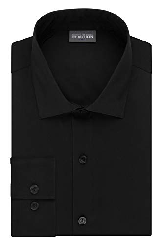 Kenneth Cole Reaction Men's Technicole Slim Fit Stretch Solid Spread Collar Dress Shirt , Black, 15.5' Neck 32'-33' Sleeve