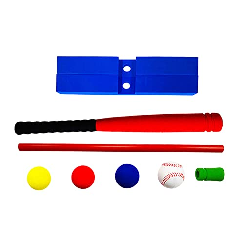 NC NC T-Ball Set - Toddlers / Kids Tee Ball - Sports Toy Baseball, Batting Tee Develops and Improves Baseball, Softball Skills for Boy's and Girl's - 21inch Red