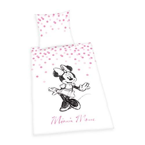 Bettwäsche- Disney's Minnie Mouse  ,Kopfkissenbezug 80x80cm, Bettbezug 135x200cm, Renforcé, mit Qualitäts- Reißverschluss