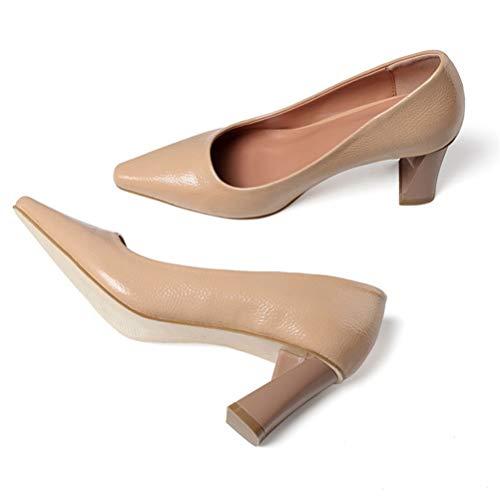 LBCD - Tacones altos para mujer con punta puntiaguda, zapatos de corte sexys de moda salvaje, color negro, oficina, trabajo, mujer, profesional, fiesta, albaricoque, 40