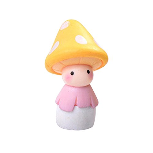 HomLand Lovely Mushroom Doll Micro Landscape Bonsai Home Decor Gift Garden for Home Yellow