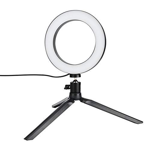 Qkiss 16cm LED Dimbare LED Video Ring Light Camera Lamp Kit met Desktop Statief Gsm-houder USB-poort, voor telefoon Live Streaming Selfie Make-up