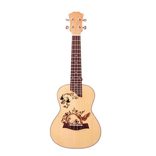 KEPOHK Ukelele de concierto de 23 pulgadas 4 cuerdas de nailon Mini guitarra hawaiana Uku Abeto acústico con buen tallado de 23 pulgadas