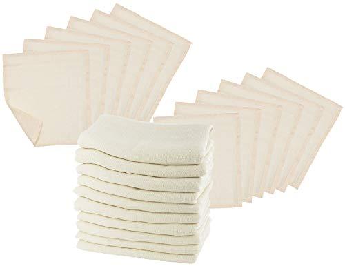 Bio Mullwindeln 10er-Set mit Waschlappen 100% Bio-Baumwolle (kbA) GOTS zertifiziert, Natur, 80 x 80 cm