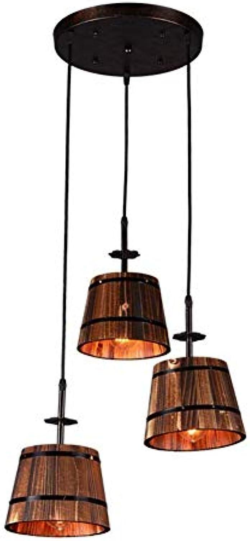 Amerikanischen Retro Holz Kronleuchter 3 Kopf Holz BarrelChandelier, Nordic Kreatives Restaurant Kitchen Bar Industrial Light