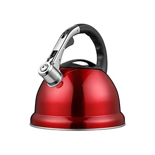 Kessel Stovetop Whistling Kettle 3,5 Liter Fassungsvermögen Edelstahl, High-End-Red Boiling Water Topf for Gaskocher, DREI-Schicht-Verbund Bottom for eine effiziente Wärme Sammlung