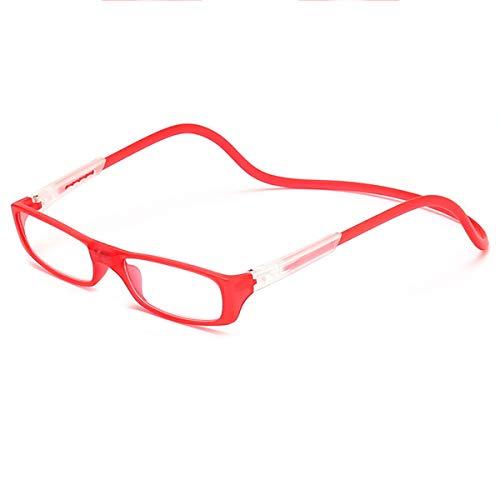LGQ 2021 Nuevas Gafas de Lectura magnéticas, cómodas y antipérdida, cuelgan del Cuello, convenientes y portátiles, Gafas Plegables para Ancianos, dioptrías de 1,00 a 3,00,Rojo,+2.00