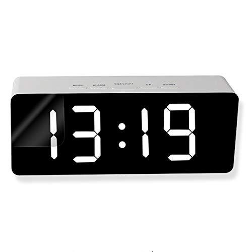 Soonhua Digitale wekker, digitale led-sluimerspiegel, nachtwekker met temperatuurweergave, nachtmodus, dubbele USB-aansluitingen, voor slaapkamer en kantoor, eenvoudig te bedienen