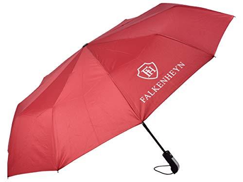 Falkenheyn Regenschirm Sturmfest Taschenschirm mit voll-automatischer Auf Zu Automatik Windfest Rot