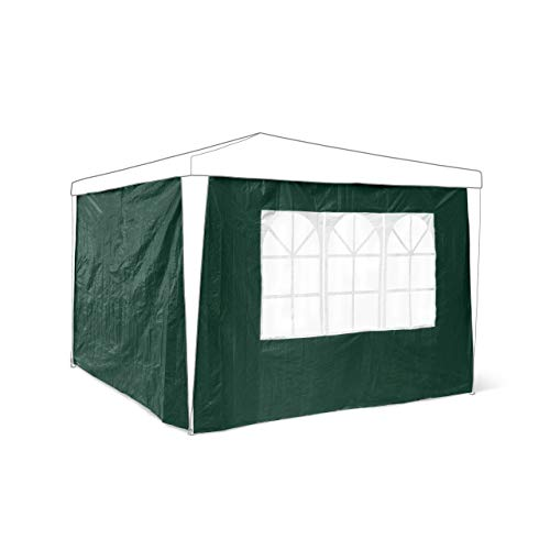 Relaxdays Side Parts Set of 2 for 3x3m Gazebo Pavilion Tent, Walls w Windows for Canopy, Privacy Screen for Party Tent, Green