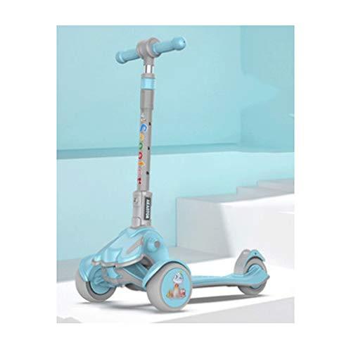 Patinete plegable perfecto para niños, altura ajustable, cubierta extra ancha, ruedas iluminadas, fácil de aprender para niños pequeños, niñas de 2 a 12 años de edad (color: azul)