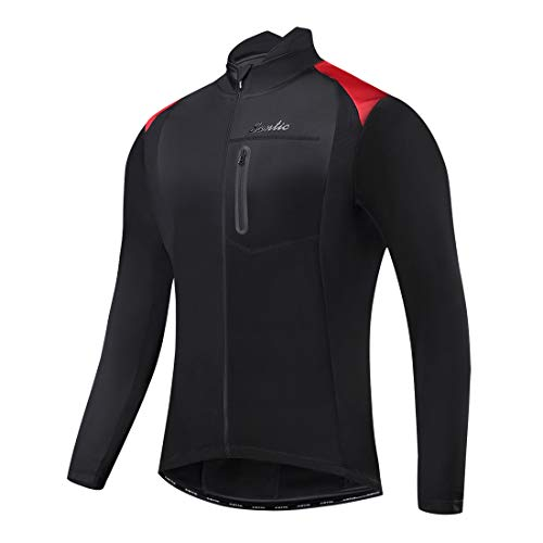 Santic Bike Winter Jacket Windproof Fleece Thermal Warm UP Cycling Bicycle Jerseys Long Sleeves Black