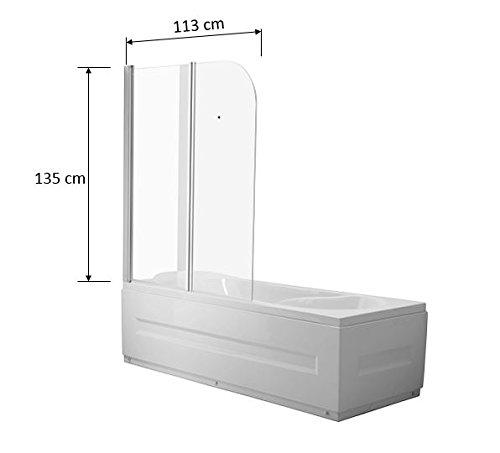 Vidrio Mampara Dallas transparente cristal bañera plegable pared ...