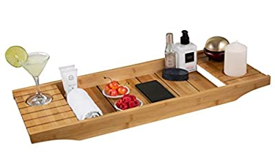 STYLE Rustic Wood Bathtub Caddy Tray Rustic Wooden Bathtub Caddy with Wine Holder