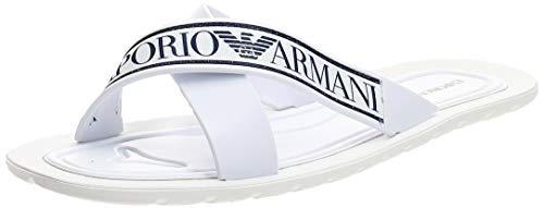 Emporio Armani White Cross Strap Sliders-UK 8