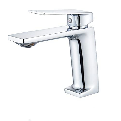 VVW&LIU Grifo de Lavabo de Pulido Dorado, grifos mezcladores de baño de un Solo Orificio de una Sola manija, 3 Colores para Elegir, Cromo, h
