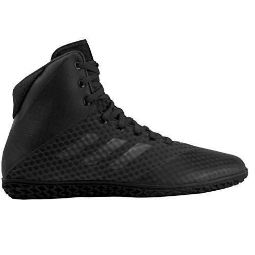 adidas Men's Mat Wizard 4 Wrestling Shoe, Carbon/Metallic/Black, 9.5