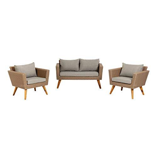 Kave Home - Set de Exterior Sumie con 2 butacas y sofá de 2 plazas de ratán y extructura de Acero para el Exterior
