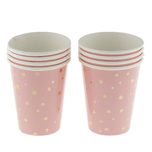 Flameer - Bicchieri di carta, usa e getta, accessorio da sera, pic-nic, colore: Rosa (Confezione da 8)